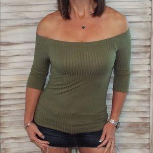 Tops - Off Shoulder 3/4 Sleeve Top Olive 0618
